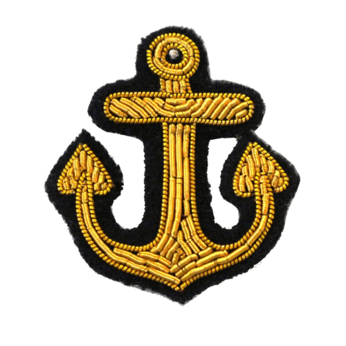 Gold bullion wire Anchor Embroidered Patch