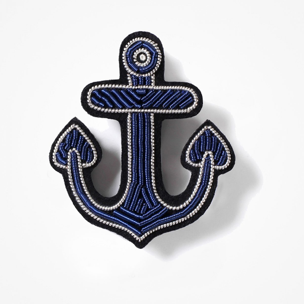 Anchor Embroidered Blazer Bullion Patch - Fashionable Anchor Blazer Bullion PatchBullion wire hand-stitched on Black colour FeltMade by skilled artisansSize is approx 3x3 inchesAvailable gold, silver and blue colours Bullion wireWith pin backing, sew-on backing available 6