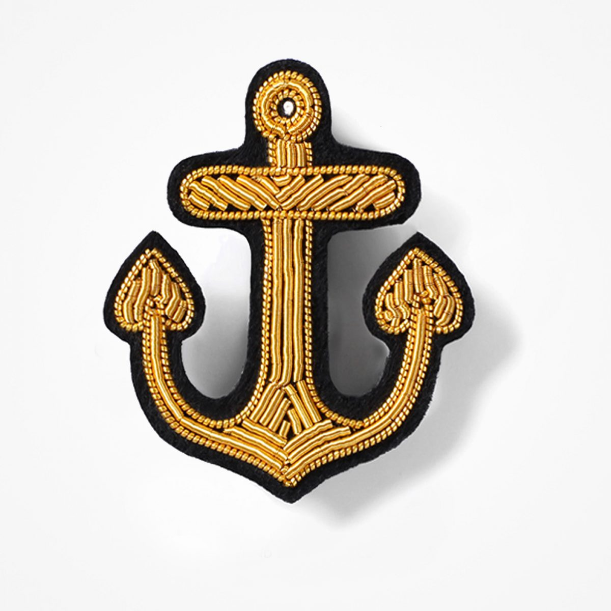 Anchor Embroidered Blazer Bullion Patch - Fashionable Anchor Blazer Bullion PatchBullion wire hand-stitched on Black colour FeltMade by skilled artisansSize is approx 3x3 inchesAvailable gold, silver and blue colours Bullion wireWith pin backing, sew-on backing available 5