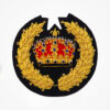 Hand Embroidered Crown And Leaf Blazer Badges Crest - Fashionable 3D embroidered look Made by skilled artisans Bullion wire and silk thread hand Stitched on Black color Felt Available in gold and silver colors Size = 3.5 inches sew-on backing: Perfect for caps, sports jacket, leather jackets, blazer coat, Blazer Pocket, shirts uniforms, Accessories and many More Pin backing: easy to removable 1