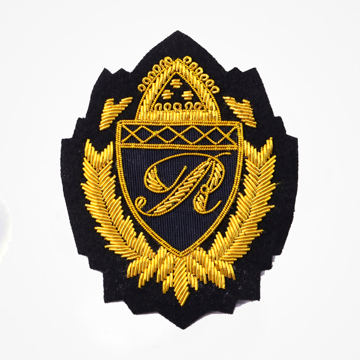 Qg - 3316 - Fashionable 3D embroidered look Made by skilled artisans Bullion wire and silk thread hand Stitched on Black color Felt Available in gold and silver colors Size = 3.5 inches sew-on backing: Perfect for caps, sports jacket, leather jackets, blazer coat, Blazer Pocket, shirts uniforms, Accessories and many More Pin backing: easy to removable 5