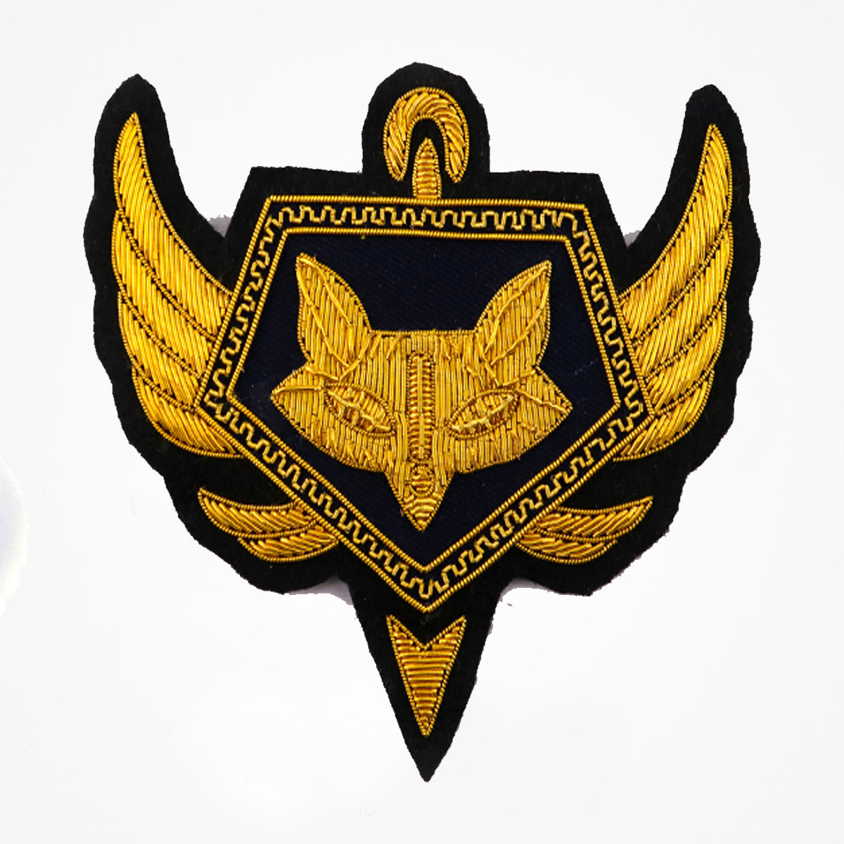 Qg - 3319 - Fashionable 3D embroidered look Made by skilled artisans Bullion wire and silk thread hand Stitched on Black color Felt Available in gold and silver colors Size = 3.5 inches sew-on backing: Perfect for caps, sports jacket, leather jackets, blazer coat, Blazer Pocket, shirts uniforms, Accessories and many More Pin backing: easy to removable 4