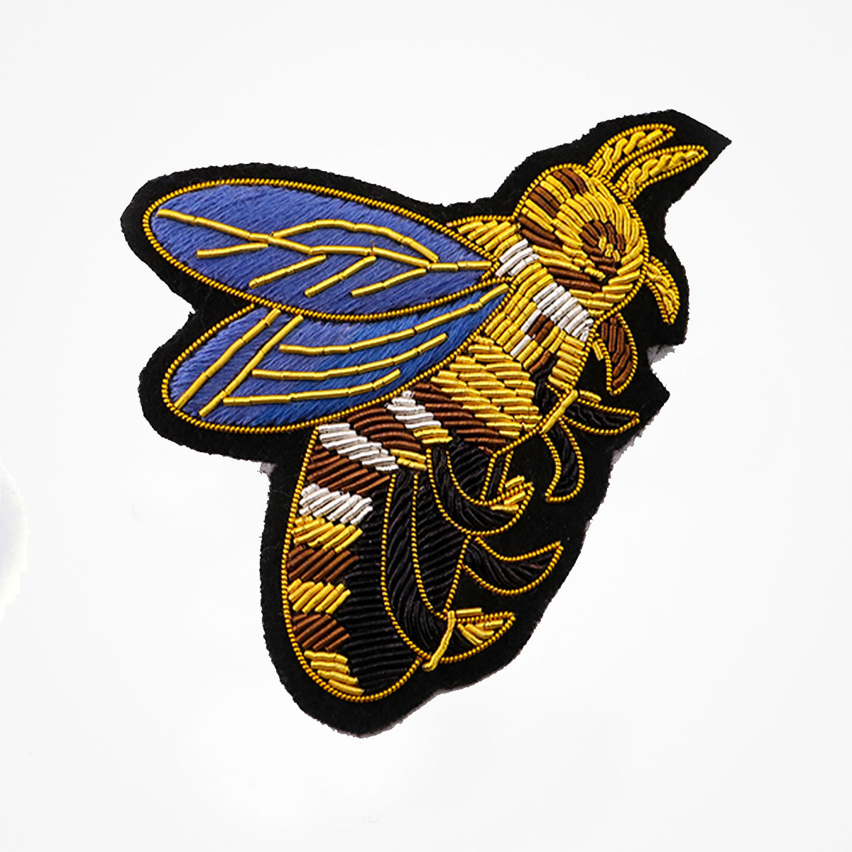 Hand Embroidered Honey bee Patch. Handmade Insects Bullion Wire Badge Sewn on Black Felt. - Fashionable 3D embroidered look Made by skilled artisans Bullion wire and silk thread hand Stitched on Black color Felt Available in gold and silver colors Size = 3.5 inches sew-on backing: Perfect for caps, sports jacket, leather jackets, blazer coat, Blazer Pocket, shirts uniforms, Accessories and many More Pin backing: easy to removable 5