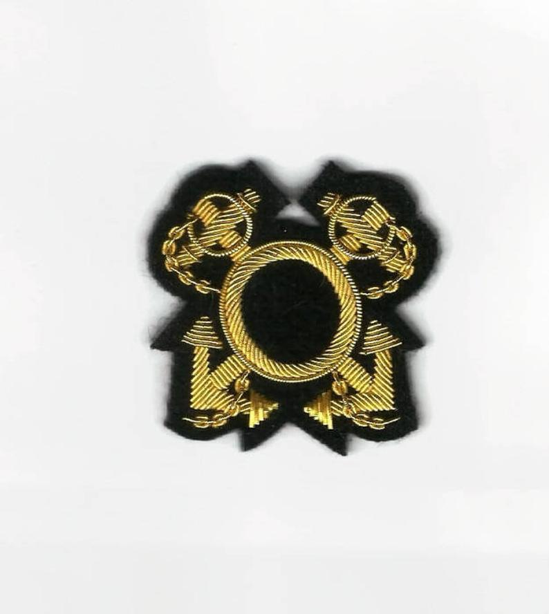 Crossed Anchors bullion wire embroidered badge patch