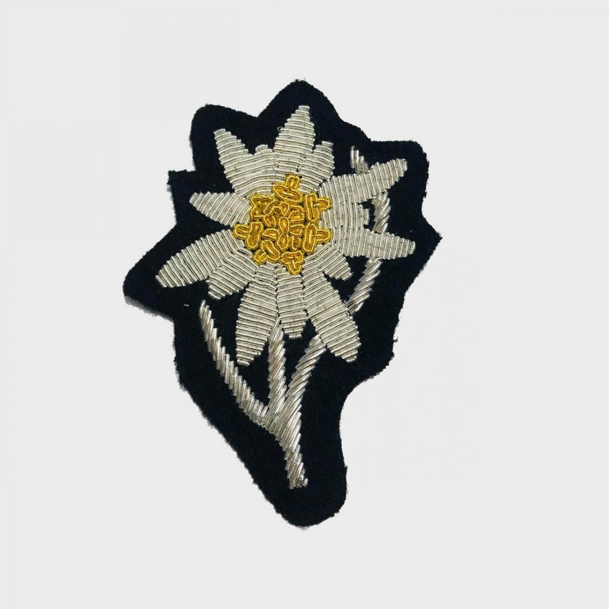 Edelweiss Flower Bullion Embroidered Badge , Sew-on Applique Patch - Edelweiss Embroidered PatchSize # 3 inchesSew-on backingSilver bullion wires embroidered on felt  2