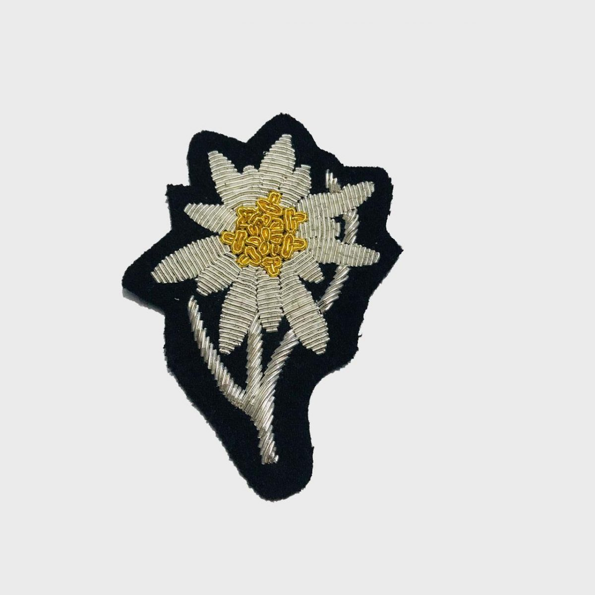 Edelweiss Flower Bullion Embroidered Badge , Sew-on Applique Patch - Edelweiss Embroidered PatchSize # 3 inchesSew-on backingSilver bullion wires embroidered on felt  5