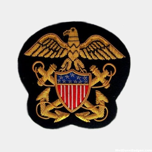 Navy Officer Bullion Embroidered Blazer Crest , Sew-on Applique Patch