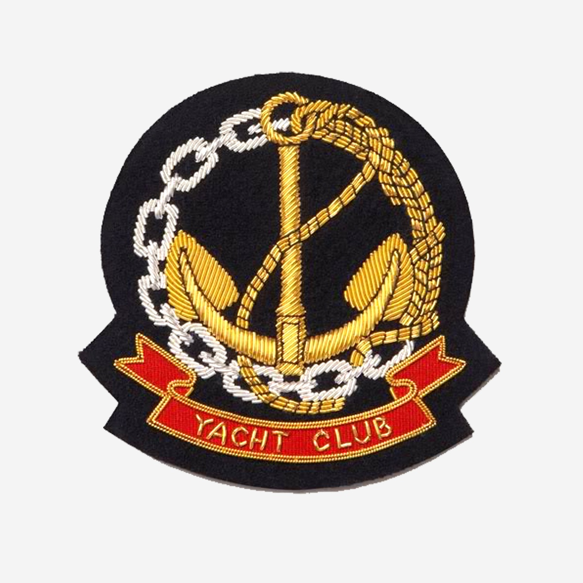 Yacht Club Gold Bullion Wire Embroidered Crest Badges