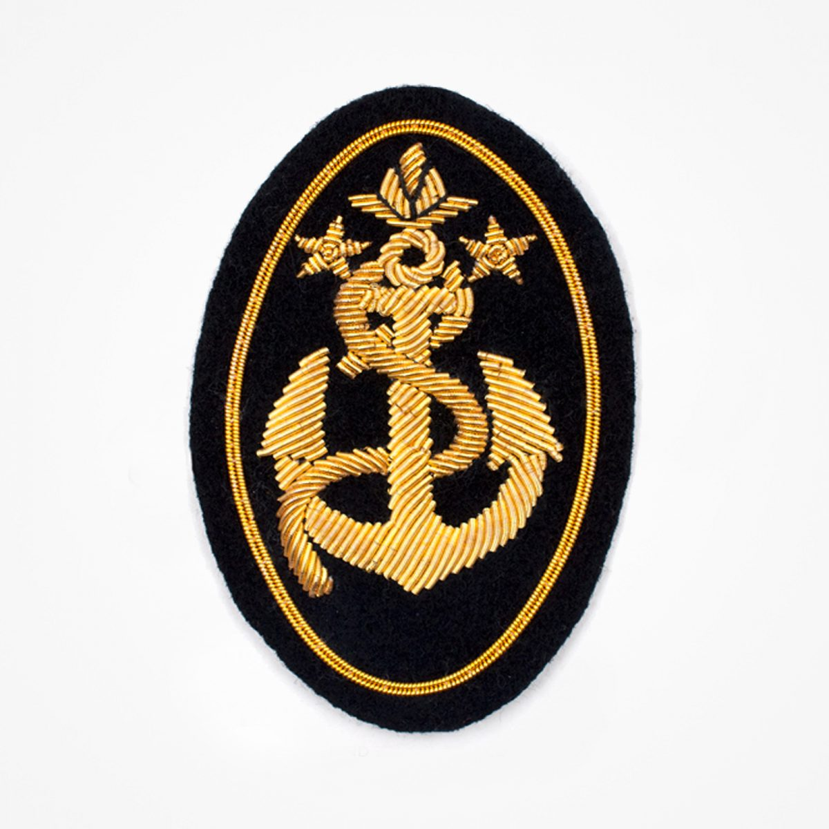 Navy Anchor - Navy Anchor Embroidered patchFashionable 3D embroidered lookMade by skilled artisansBullion wire and silk thread hand Stitched on Black color FeltAvailable in gold and silver colorsSize = 75mm height x 55mm widthsew-on backing: Perfect for caps, sports jacket, leather jackets, blazer coat, Blazer Pocket, shirts uniforms, Accessories and many MorePin backing: easy to removable 5