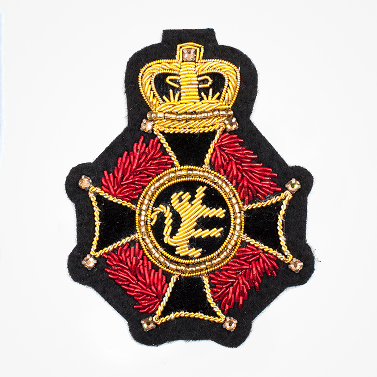 Italian Red Lion Cross Retro style Embroidered wire bullion blazer badges - Fashionable 3D embroidered look Made by skilled artisans Bullion wire and silk thread hand Stitched on Black color Felt Available in gold and silver colors Size = 75 mm height 60 mm width sewon backing: Perfect for caps, sports jacket, leather jackets, blazer coat, Blazer Pocket, shirts uniforms, Accessories and many More Pin backing: easy to removable 5