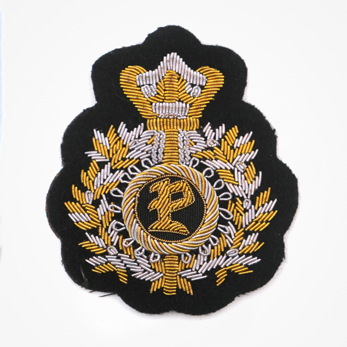 Qg - 3484 - Fashionable 3D embroidered look Made by skilled artisans Bullion wire and silk thread hand Stitched on Black color Felt Available in gold and silver colors Size = 95 mm height 78 mm width sew-on backing: Perfect for caps, sports jacket, leather jackets, blazer coat, Blazer Pocket, shirts uniforms, Accessories and many More Pin backing: easy to removable 5