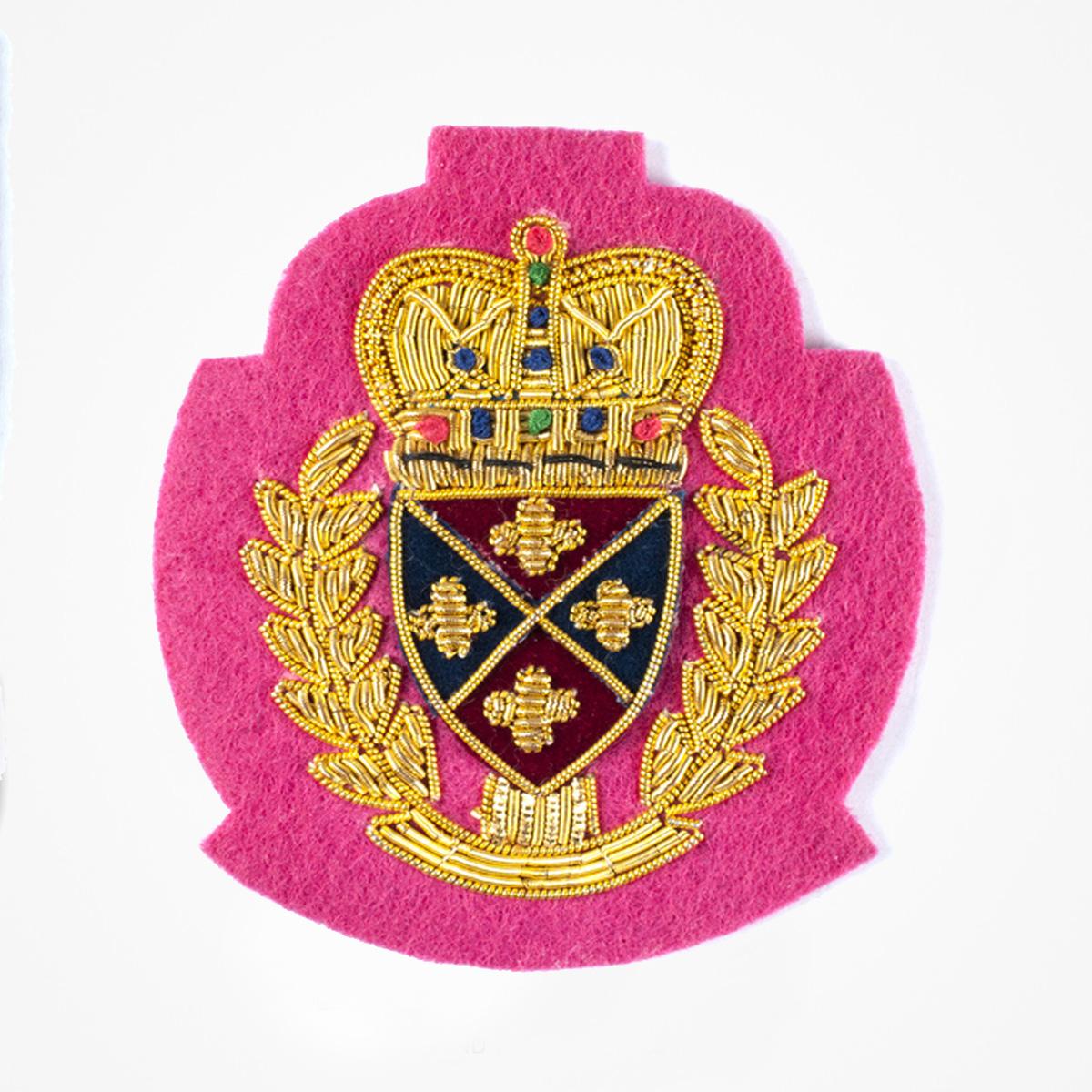 QG Gold Bullion wire Blazer Pocket Crest Patch on pink felt - Fashionable 3D embroidered look Made by skilled artisans Bullion wire and silk thread hand Stitched on Black color Felt Available in gold and silver colors Size = 72 mm height 60 mm width sew-on backing: Perfect for caps, sports jacket, leather jackets, blazer coat, Blazer Pocket, shirts uniforms, Accessories and many More Pin backing: easy to removable 5
