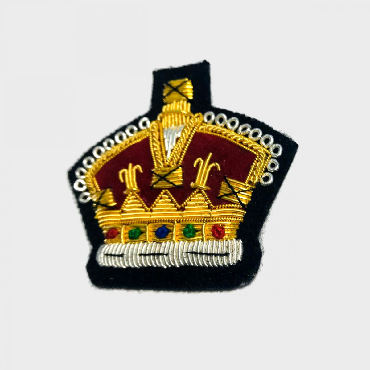 Crown Bullion Embroidered Blazer Crest Patch - Fashionable 3D embroidered Crown CrestMade by skilled artisansBullion wire hand Stitched on Black colour FeltSize is approx 2x2 inchessew-on backing only 8