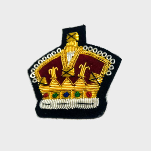 Crown Bullion Embroidered Blazer Crest Patch - Fashionable 3D embroidered Crown CrestMade by skilled artisansBullion wire hand Stitched on Black colour FeltSize is approx 2x2 inchessew-on backing only 17