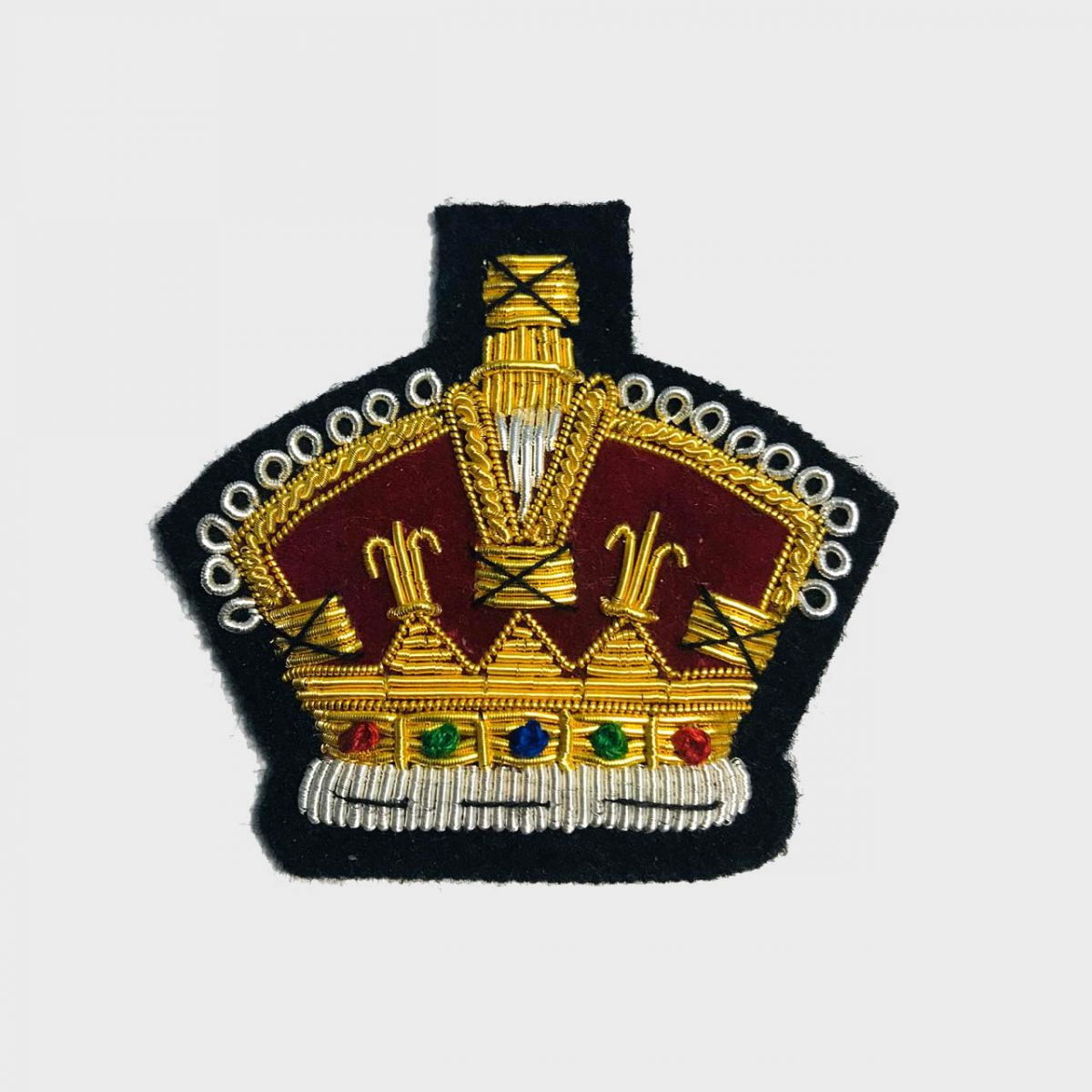Crown Bullion Embroidered Blazer Crest Patch - Fashionable 3D embroidered Crown CrestMade by skilled artisansBullion wire hand Stitched on Black colour FeltSize is approx 2x2 inchessew-on backing only 4