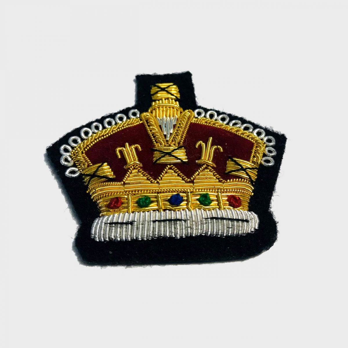 Crown Bullion Embroidered Blazer Crest Patch - Fashionable 3D embroidered Crown CrestMade by skilled artisansBullion wire hand Stitched on Black colour FeltSize is approx 2x2 inchessew-on backing only 5