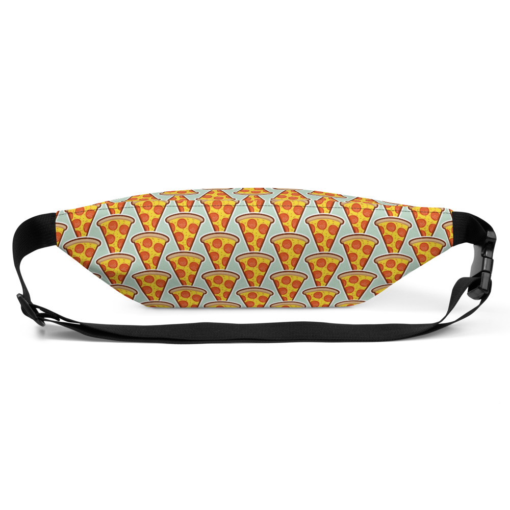 Pizza Fanny Pack - 100% polyester • Fabric weight: 9.91 oz/yd² (336 g/m²) • Dimensions: H 6.5'' (16cm), W 13'' (33cm), D 2¾'' (7cm) • Water-resistant material • Top zipper with 2 sliders • Small, customizable inner pocket without zipper • Silky lining, piped inside hems • 1¼'' wide adjustable straps with plastic strap regulators 4